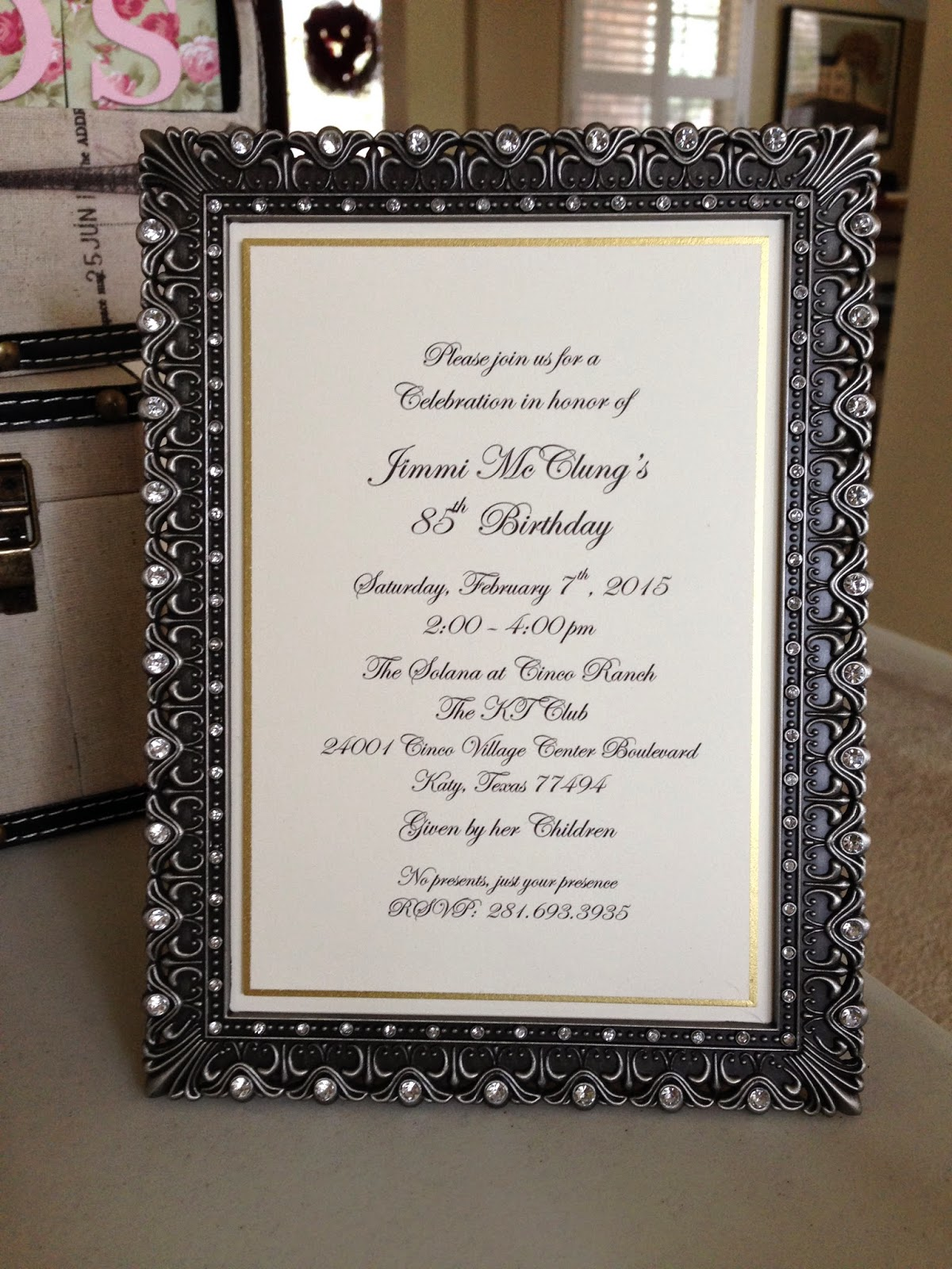 This Is The Official Invitation That We Had Printed Up I Thought It Would Be A Nice Touch To Include As Part Of Party Decorations