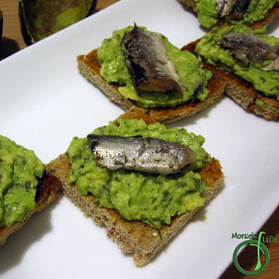 Morsels of Life - Sardine Toast - Heart healthy avocado combined with nutritious sardines and spread on toast or crackers - perfect for a snack or appetizer!