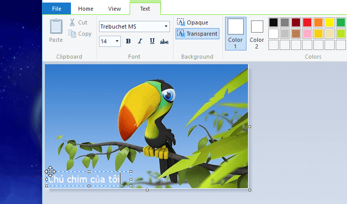 cách chèn chữ vào ảnh bằng MS Paint