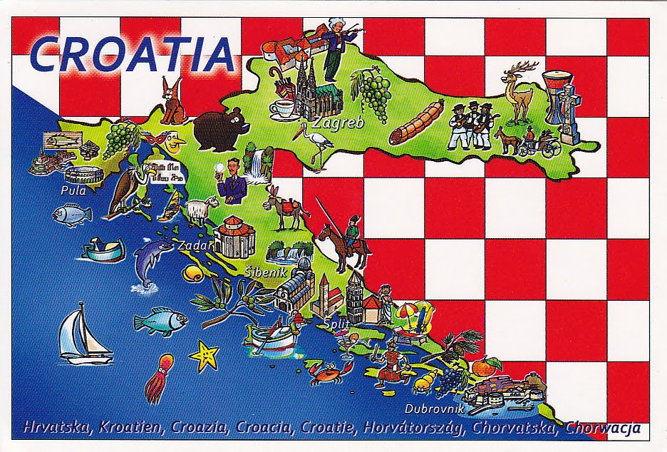 Carte Croatie Zadar.Postcard A La Carte Croatia Hrvatska Map