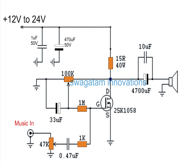 Single Mosfet Class A Power Amplifier