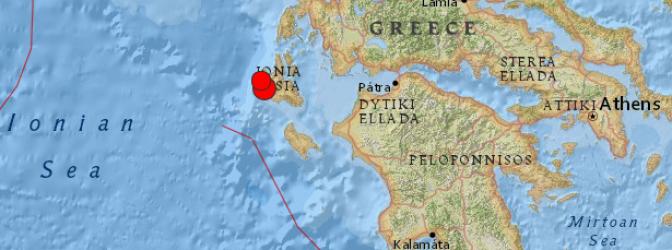 Epicentro terremoto de 6,0 grados en Grecia, 26  de Enero 2014