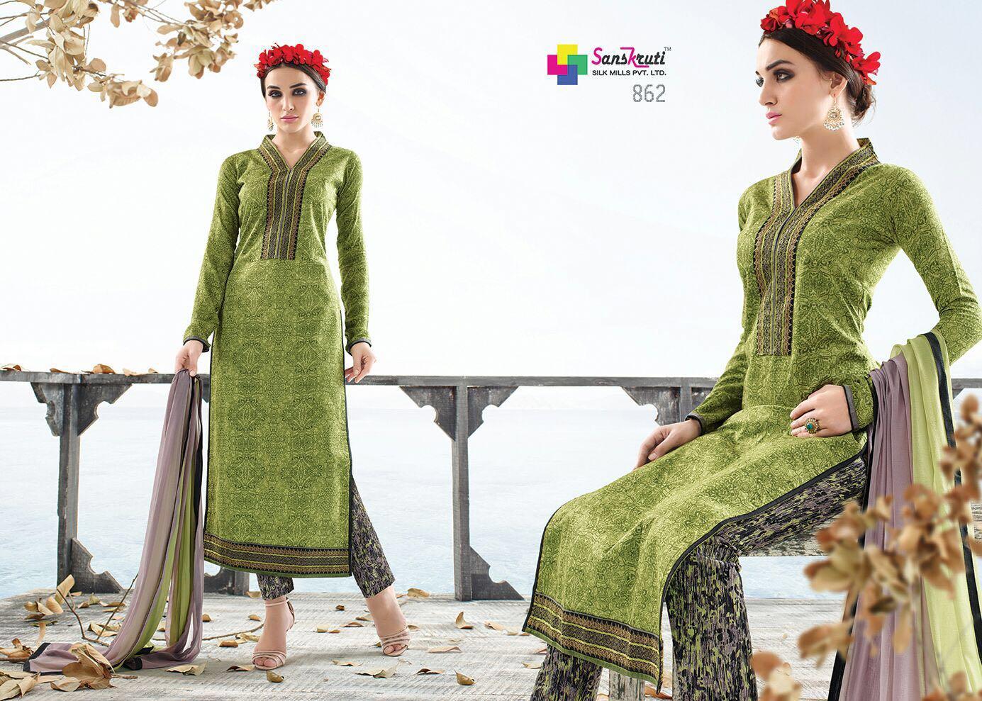 Stallina – Satin Cotton Printed Salwar Suit Dress Material