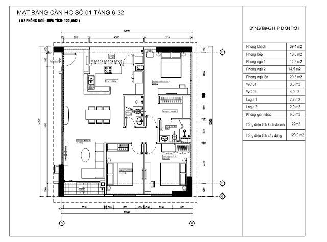 Thiết kế căn hộ 01 chung cư Phú Mỹ Complex - N01T4 Ngoại Giao Đoàn