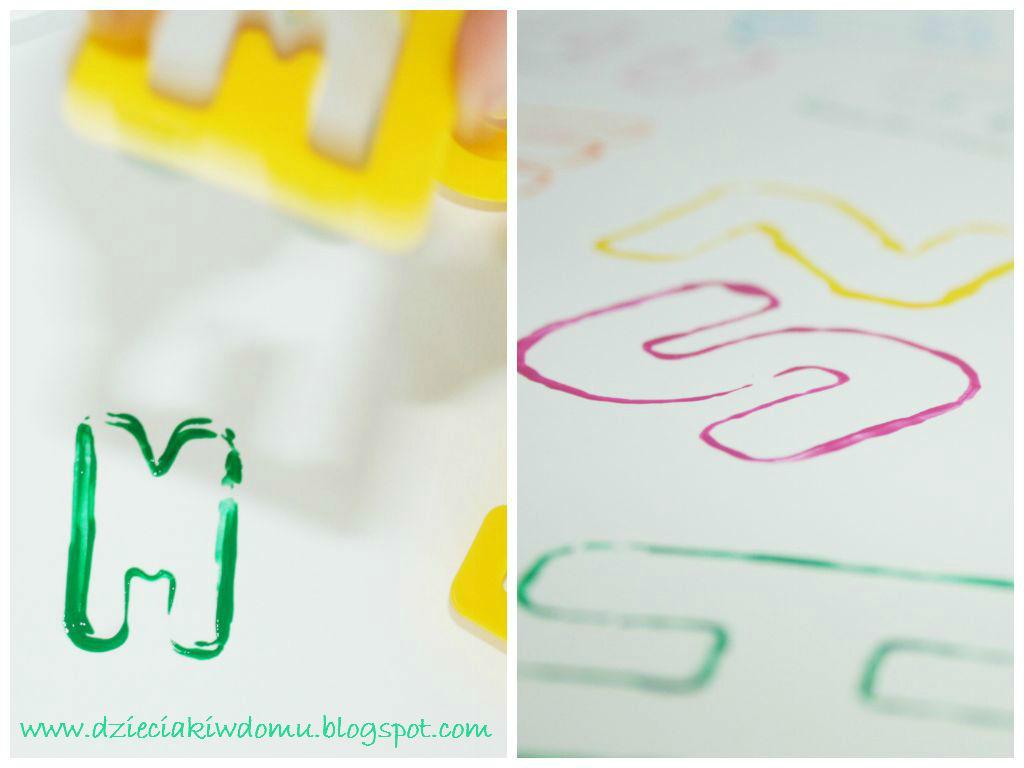 litery stempelki - kreatywna zabawa dla dzieci, nauka przez zabawę