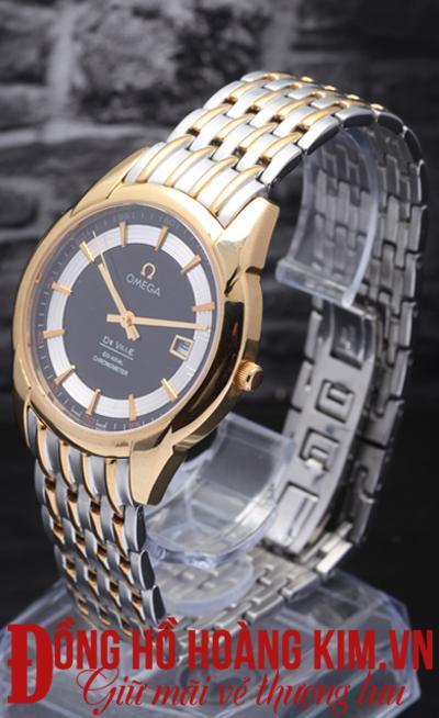 đồng hồ nam dây thép omega mặt tròn