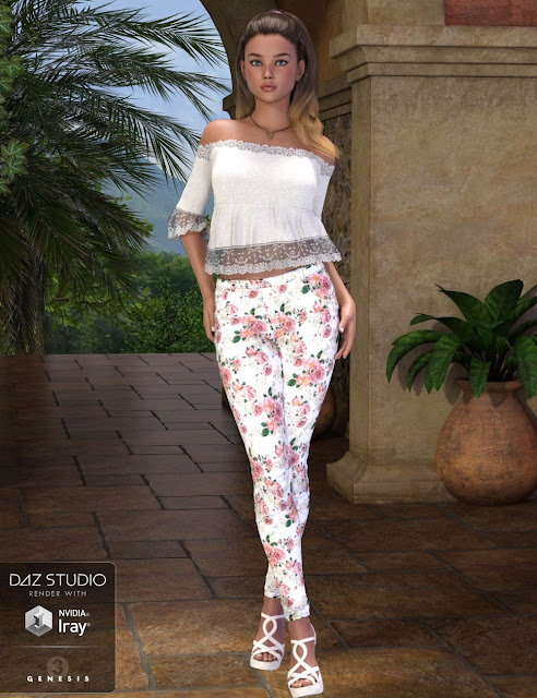 Floral Jeans Outfit for Genesis 3 Female