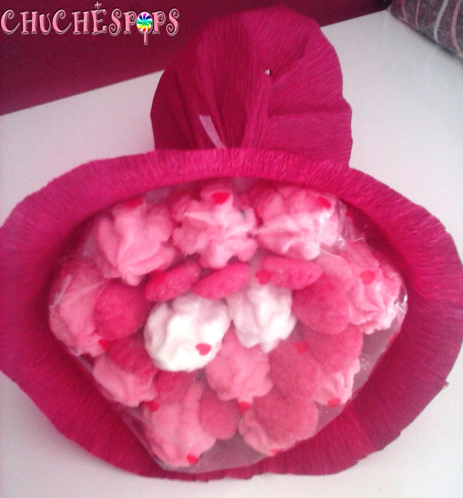 ramo de chuches grande tonos blanco,rosa