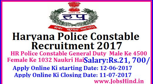 Haryana Police Constable Recruitment 2017