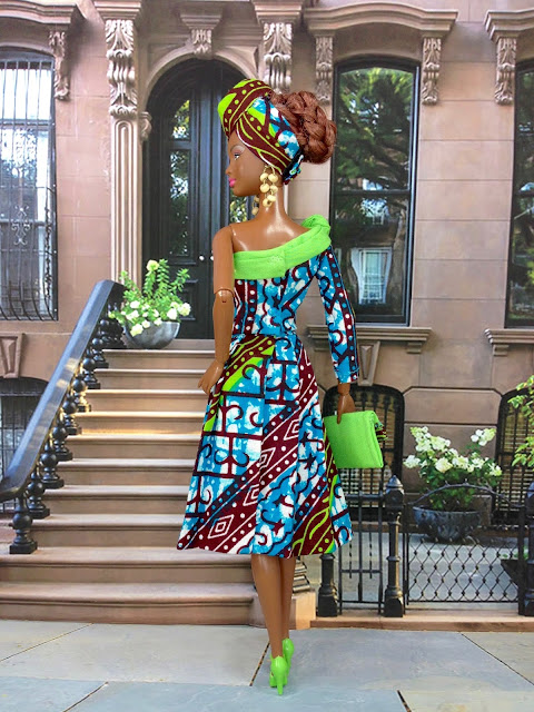 Back View of African Print Skirt Suit