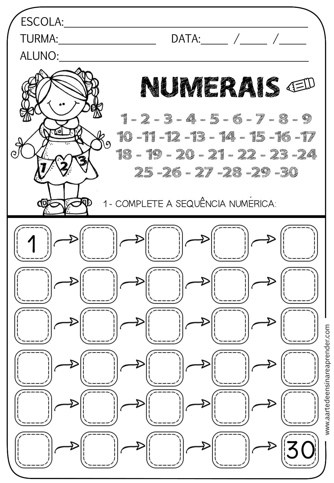 Atividade Pronta Sequência Numérica Do 1 Ao 30 A Arte De Ensinar
