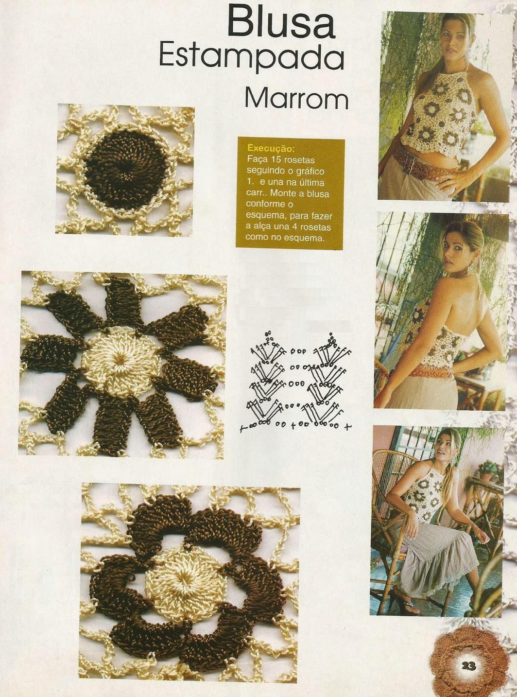 Top Apliques Flores Crochet