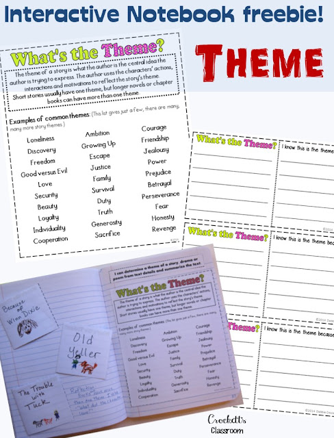 Do you love interactive notebooks?  You have to check out this free page!  Your students will be able to use it the entire year as they think about the theme of their stories.