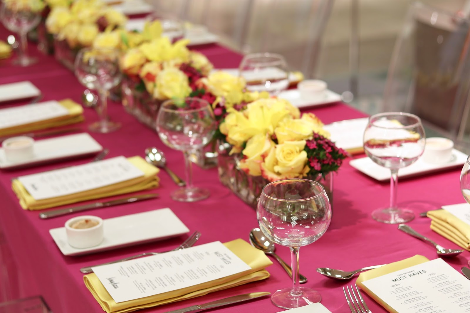 hot pink and yellow table decor, fashionable brunch, san diego style blogger brunch