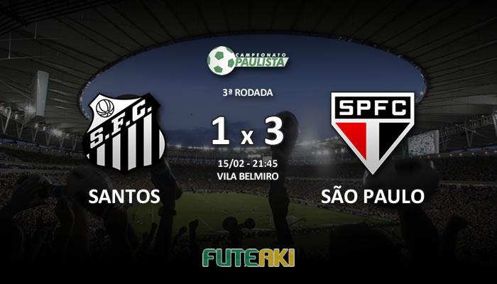 Veja o resumo da partida com os gols e os melhores momentos de Santos 1x3 São Paulo pela 3ª rodada do Paulista 2017.