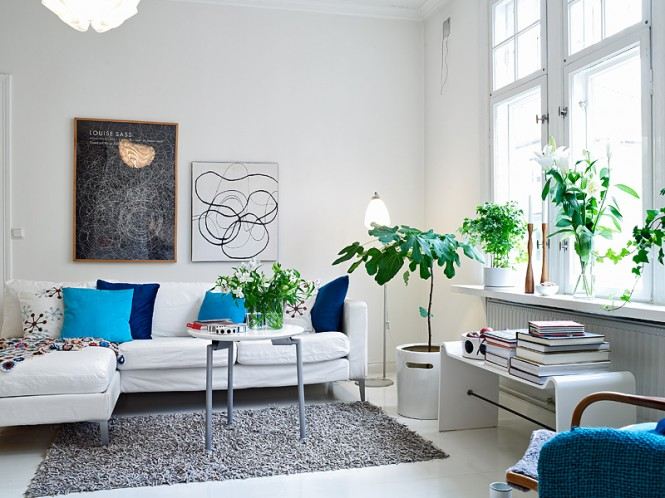 minimalist living room blue white and gray