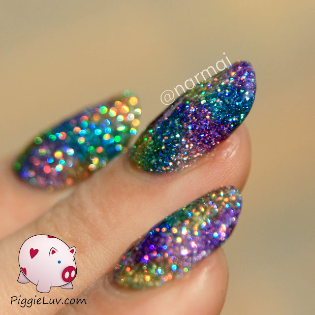 Piggieluv Dull Sparkle Nail Art With Message