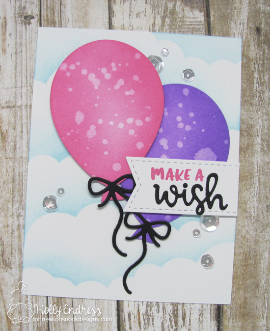 Balloon card by Holly Endress | Birthday Essentials Sentiment Stamp Set and Balloon Shaker Die Set by Newton's Nook Designs #newtonsnook #handmade