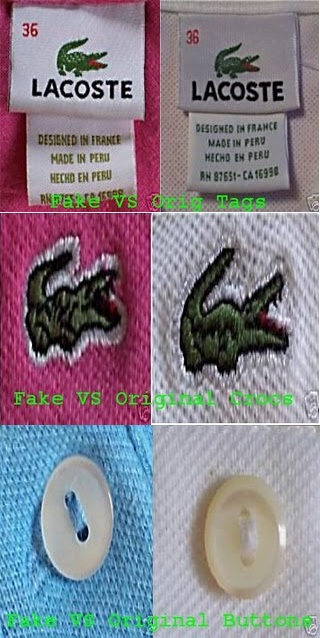 b4091fd5d958b Na etiqueta o crocodilo da camisa original tem o corpo coberto de pintas  brancas e o detalhe mais importante são os olhos que aparecem de forma  nítida, ...