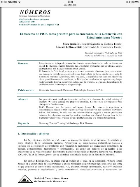 Jiménez-Gestal, C. Blanco, L.J. Teorema de PICK la enseñanza de la Geometría  Estudiantes para Maestro, Revista Números