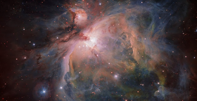 OmegaCAM — the wide-field optical camera on ESO's VLT Survey Telescope (VST) — has captured the spectacular Orion Nebula and its associated cluster of young stars in great detail,  producing this beautiful new image. This famous object, the birthplace of many massive stars, is one of the closest stellar nurseries, at a distance of about 1350 light-years.  Credit: ESO/G. Beccari