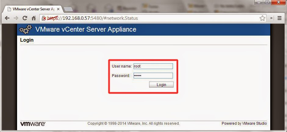 Ventana de Login VMware vCenter Server Appliance