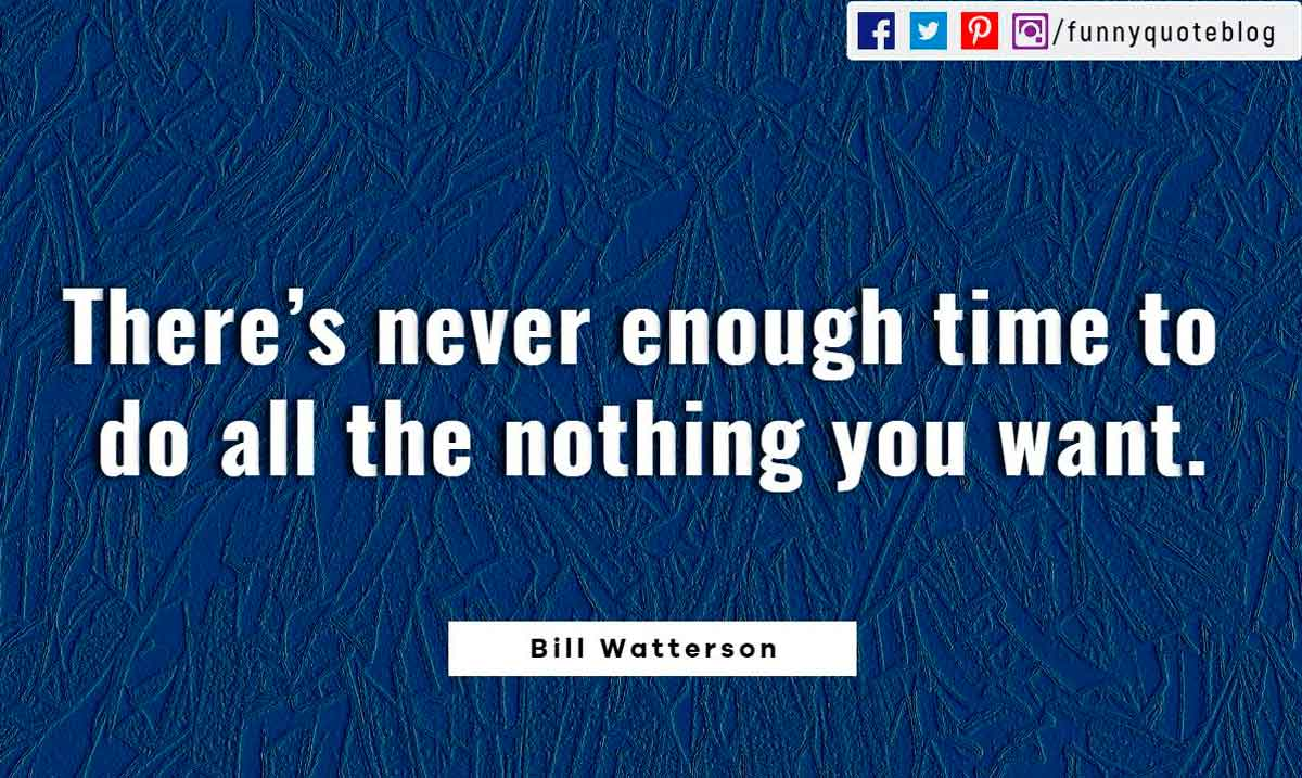 There's never enough time to do all the nothing you want. ― Bill Watterson Quote