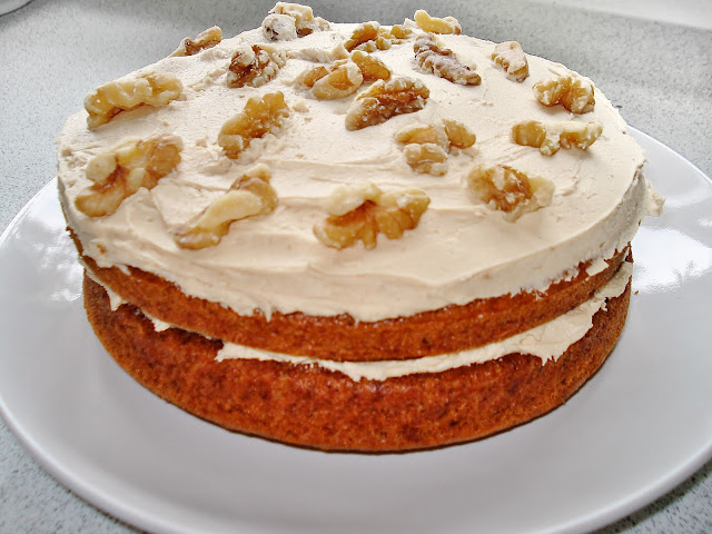 Vegan, gluten free and refined sugar free Coffee and Walnut Cake