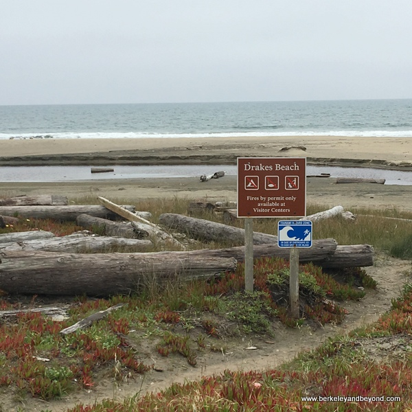 sign at Drakes Beach at Point Reyes National Seashore in Olema, California