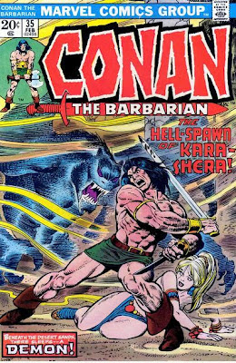 Conan the Barbarian #35, the hell-spawn of Kara-Shera, Conan fights a giant bat monster with his sword, as a helpless wench looks on