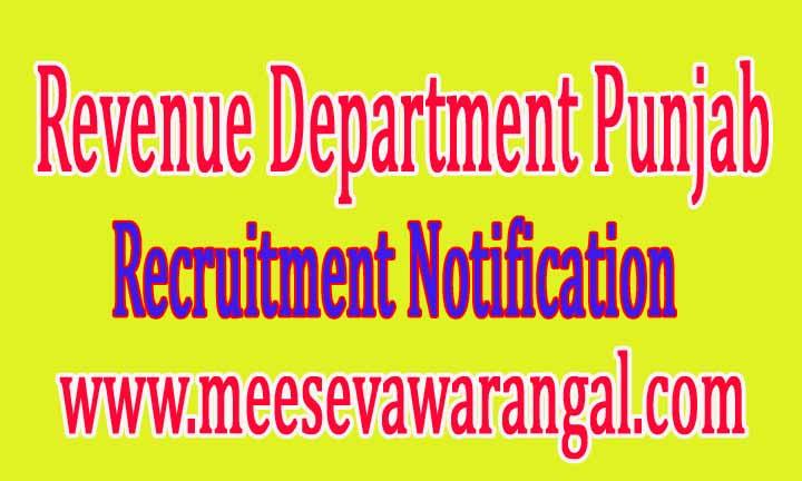 Revenue Department Punjab Recruitment Notification 2016