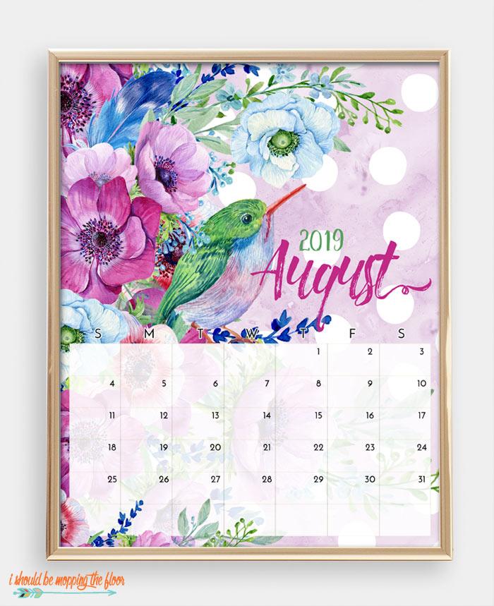 August Bird Calendar