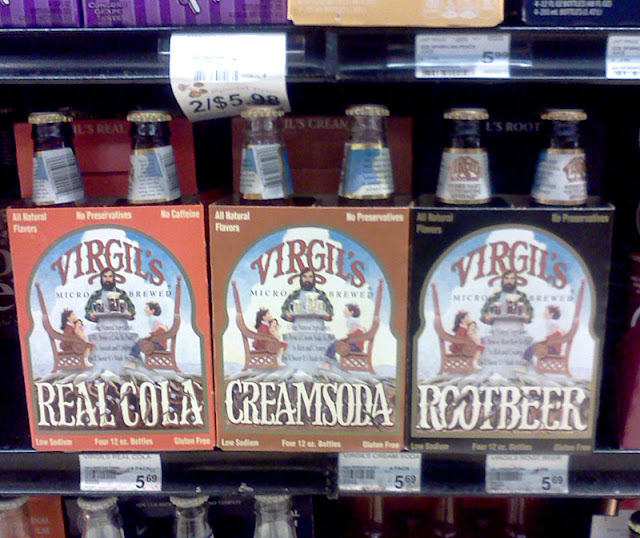 Virgil's Real Cola, Cream Soda, and Root Beer.