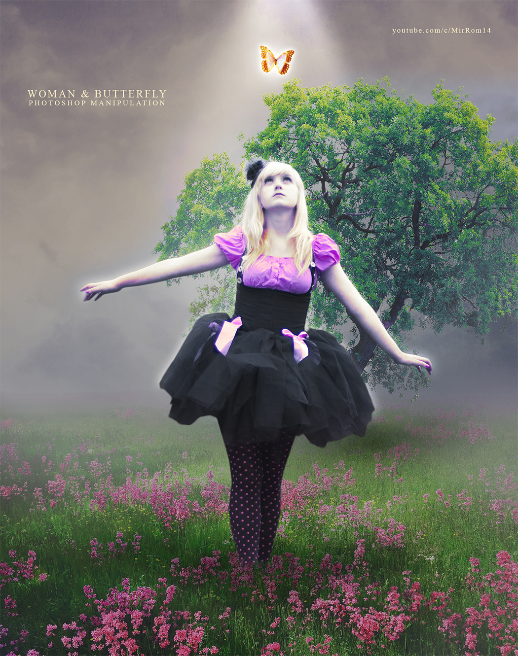 Photoshop Photo Manipulation Tutorial - Woman and Butterfly
