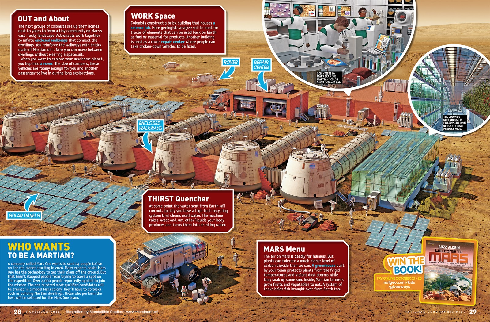 Mars base illustration for National Geographic Kids Magazine