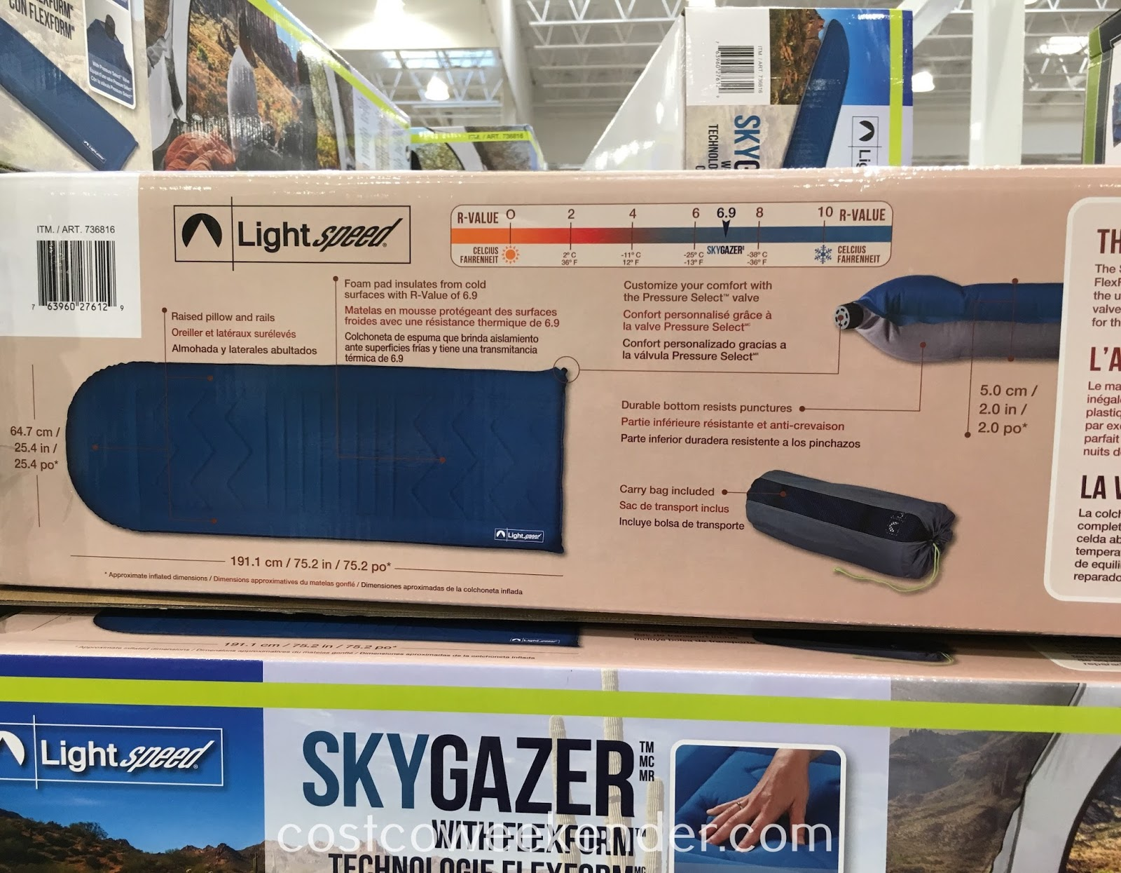Costco 736816 - Lightspeed Outdoors Skygazer Self-Inflating Sleep Pad - Who says roughing it needs to be uncomfortable?