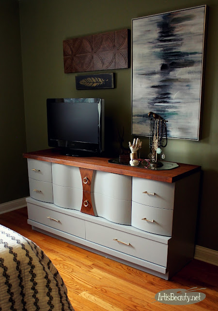 general finishes seagull gray painted mcm mid century mod curved front dresser makeover eclectic boho chic