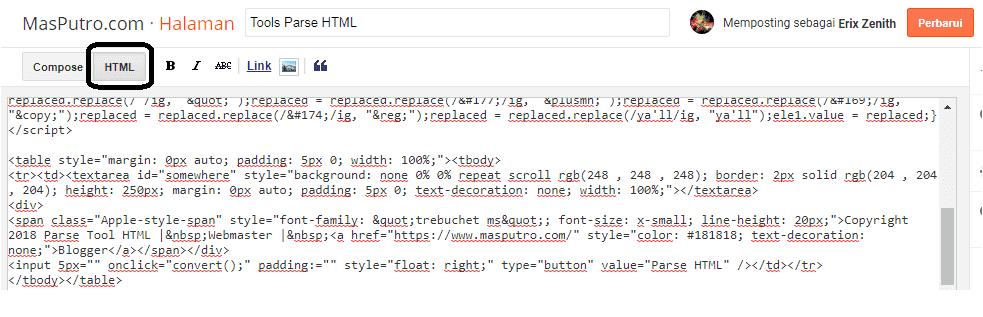 Cara Membuat Parse HTML Pada Blog