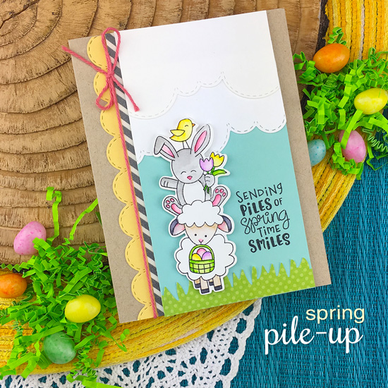 Spring Card with pile of Animals by Jennifer Jackson | Spring Pile Up Stamp Set by Newton's Nook Designs #newtonsnook #handmade