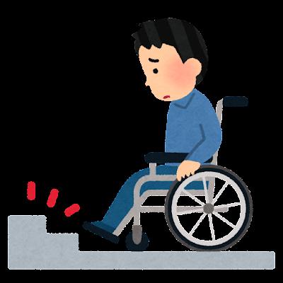 車椅子に乗る人と階段のイラスト