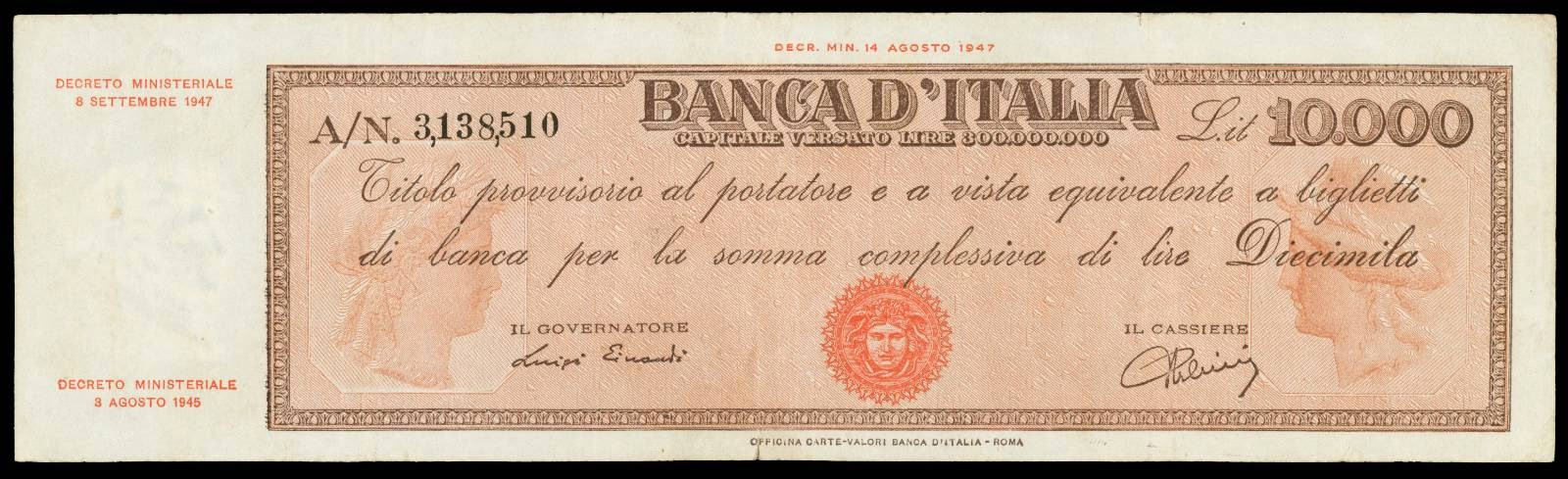 Italy 10000 Lire 1947 Provisional bearer note