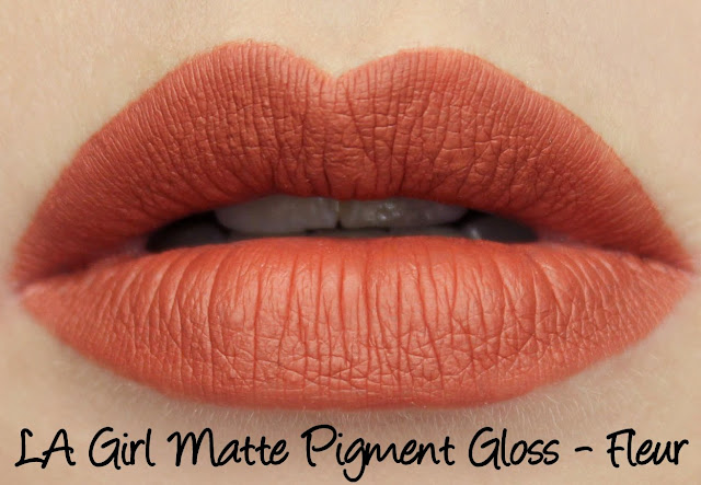 LA Girl Flat Matte Pigment Gloss - Fleur Swatches & Review