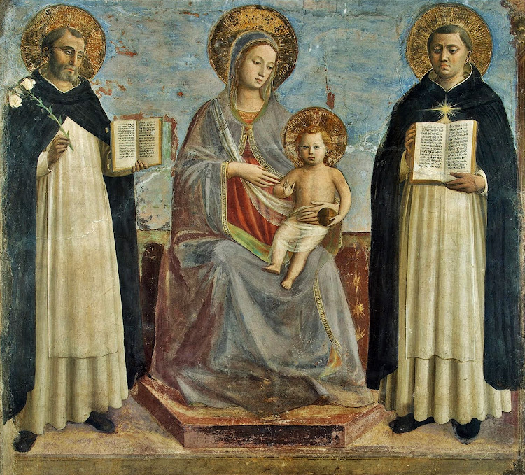 Angelico fra Beato fra Giovanni da Fiesole Guido di Pietro - The Virgin and the Child with Sts Dominic and Thomas Aquinas