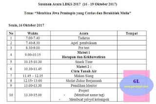 format susunan untuk kegiatan osis pada acara ldks (latihan dasar kepemimpinan siswa)