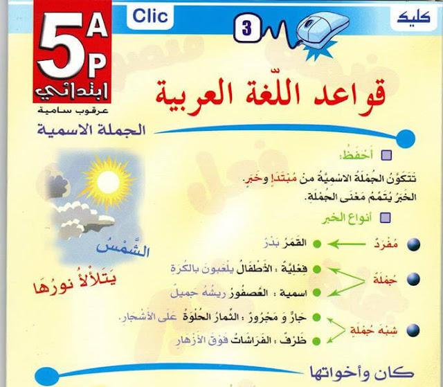 مطوية قواعد اللغة العربية السنة الخامسة إبتدائي