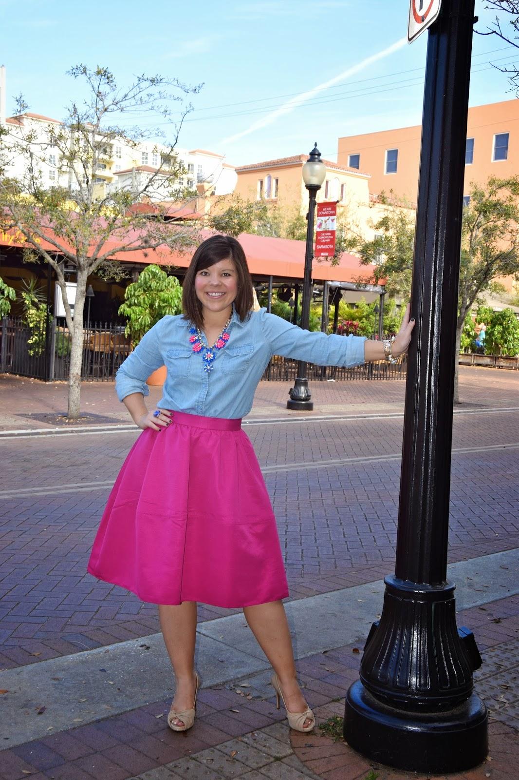 Fuchsia Midi Skirt