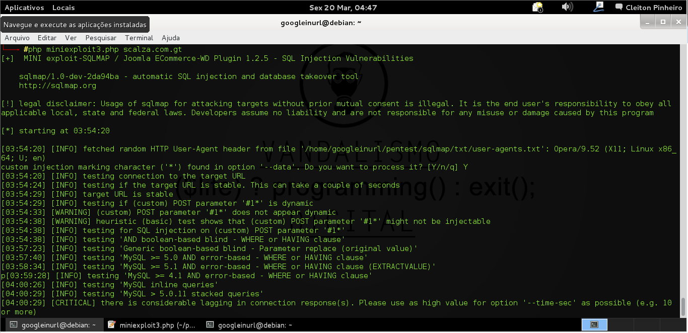 COMANDOS   -   SQLMAP Injetando via POST.