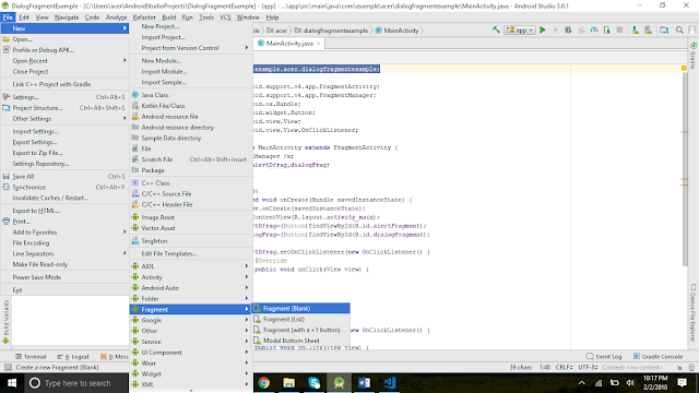 Dialog fragment in android studio