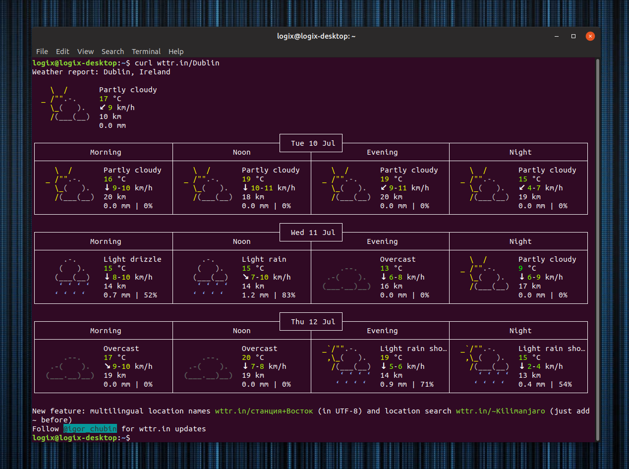 Display Weather Forecast In Your Terminal With Wttr in