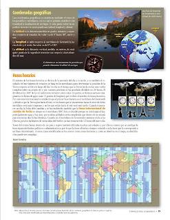 Apoyo Primaria Atlas de Geografía del Mundo 5to. Grado Capítulo 1 Lección 3 Coordenadas Geográficas, Husos Horarios